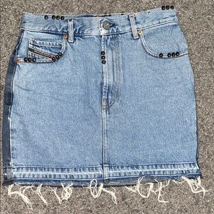 Two toned denim skirt with beaded accents